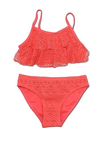 SHEKINI Ragazze Bambini Costumi da Bagno Bambina Due Pezzi Bikini Solido Halter Costumi da Bagno (8-10year 134-140cm, Rosso)