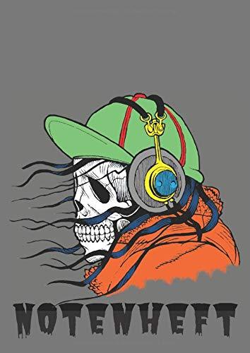 Notenheft: DIN A4 Format Halloween Motiv Totenkopf mit 70 Seiten für Schüler und Lehrer | Kompositionen Schreibheft mit Notenlinien