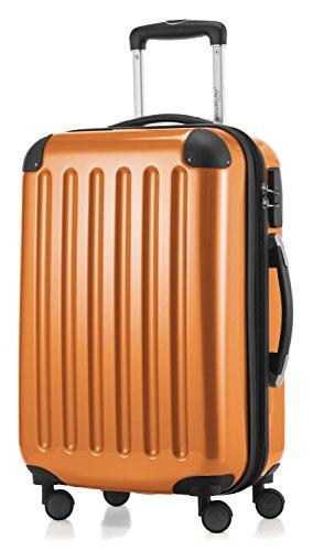 HAUPTSTADTKOFFER - Alex - 4 Doppel-Rollen Handgepäck Hartschalen-Koffer Trolley Rollkoffer Reisekoffer, 55 cm, 42 L, Orange