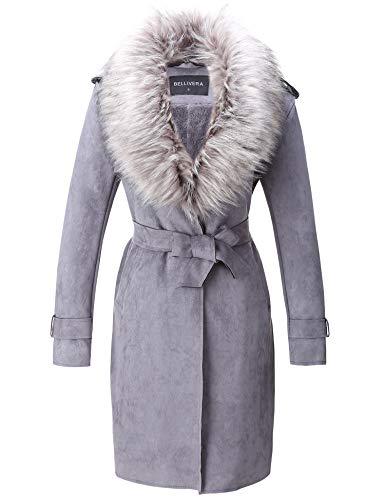 Bellivera Damen Trenchcoat Cardigan aus Wildlederimitat, Lange Jacke mit Kunstpelzkragen FF20 Grau Groß