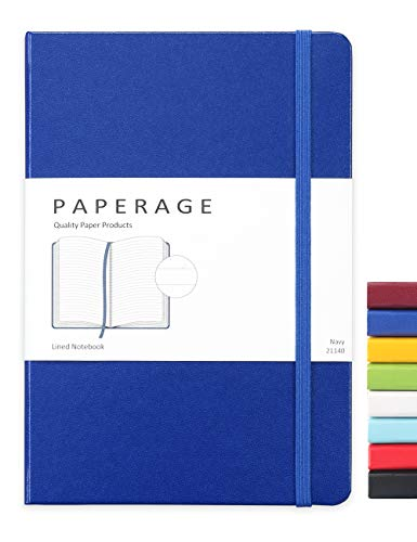 Paperage Lined Journal Notebook, Hard Cover, Medium 5.7 x 8 inches, 100 gsm Thick Paper (Navy, Ruled)