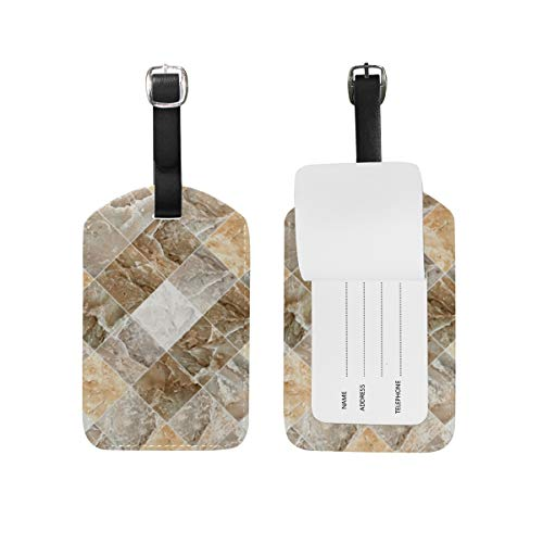 Etiqueta de equipaje de piel sintética con diseño abstracto de baldosas de pared para maleta de viaje, 1 pieza