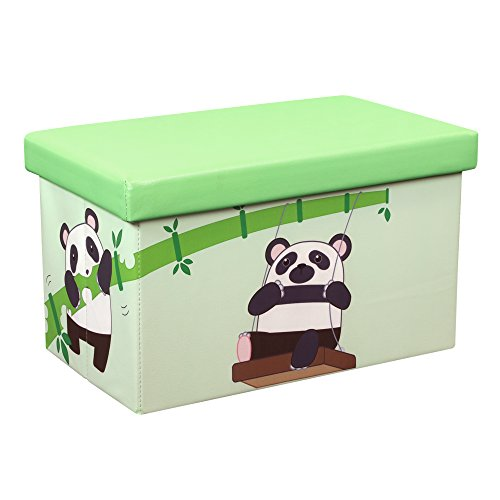 Otto & Ben Folding Storage Ottoman Chest with Foam Cushion Seat, Washable Faux Leather Foot Rest Stools for Kids, Panda and Bamboo