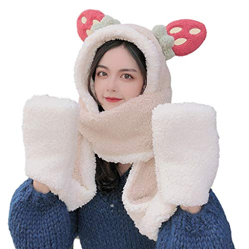 Women Student Winter Warm 3 in 1 Plush Hooded Scarf Hat Gloves Set Cartoon Big Strawberry Ears Contrast Color Windproof Earflap Cap Pocket Mittens (Breathable Inner Lining)
