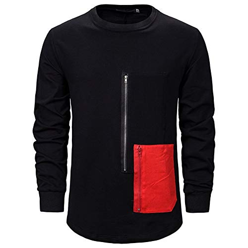 DressU Männer Fisch Plain Assassins Creed Diablo-Serie-Pullover Männer-Bannfarbe Lose Tasche Freizeitjacke Side-Zipper Buckle Norm (Color : Black, Size : M)