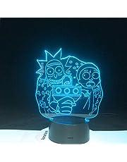 KangYD 3D nattlampa sortimentbord Rick Morty, LED optisk illusionslampa, B – fjärrsvart bas (16 färger), rumsdekoration, rumsbelysning, modern inredning, barnlampa, julklapp