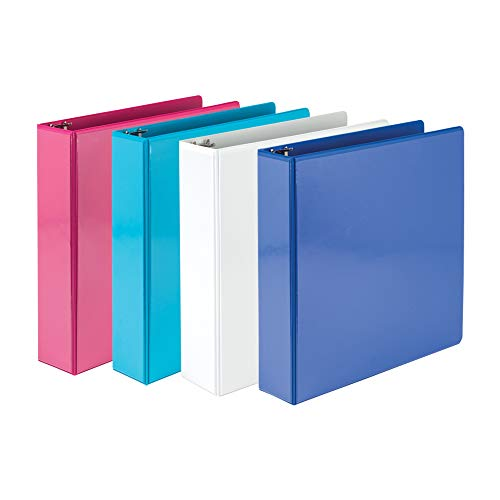 Samsill 2 Inch Round Ring Binders/Customizable Clear View Binder/Bulk Binder 4 Pack/ 3 Ring Binder / 2 Inch Binder/Fashion Color Assortment (MP28698)