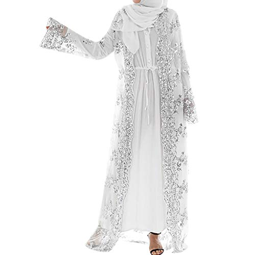 Frauen Stickerei und Pailletten Islamisch Kittel, Damen Muslim Kleidung Sommer Lange Ärmel Ramadan Bluse Mittlerer Osten Saudi Arabisch Traditionell Ethnische Kleidung (S, Weiß)