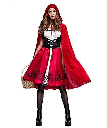 LaLaAreal Disfraz Halloween Caperucita Roja Mujer Cosplay Carnaval Navidad Fiesta con Capa (Disfraz Halloween-3, M)