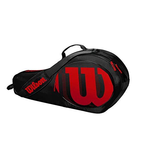 Wilson Tennistasche für Kinder, 2 Fächer, Bis zu 3 Schläger, Schwarz/Rot, WR8002801001