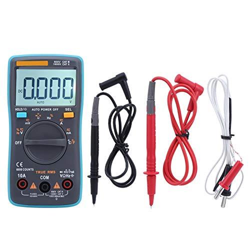 Probador de capacitancia de diodo multímetro Voltímetro de alta confiabilidad Corriente CA CC con retroiluminación 6000 cuentas para el hogar