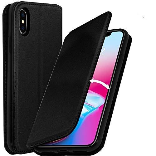 AURSTORE CoqueCompatible avec iPhone XS/Iphone X, Pochette Housse Etui Porte Carte Fonction Stand Video, Plusieur Couleur Disponible pour iPhone XS/Iphone X (Noir)