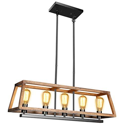 Rustic Wood Kitchen Island Lighting - with 5 Bulbs Adjustable Rectangle Metal Hanging Ceiling Light