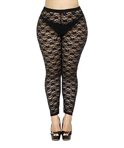 Women's Stretchy Black Lace Tights. Ideal for Madonna 80s Dress-up. 4 Sizes