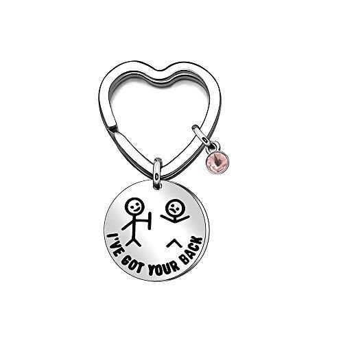 Newnal Best Friend Keychain Keyring I have Bot Your BackPink Rhinestones Birthday Gift Graduation Heart Keyfob