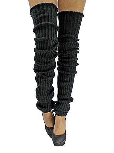 Black Slouchy Thigh High Knit Dance Leg Warmers