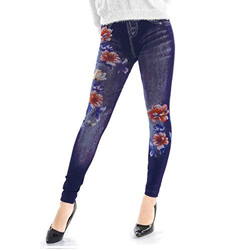 Hustar Damen Jeans-Leggings, Skinny Hose, hohe Taille, bedruckt, Blumenmuster Jeggings blau