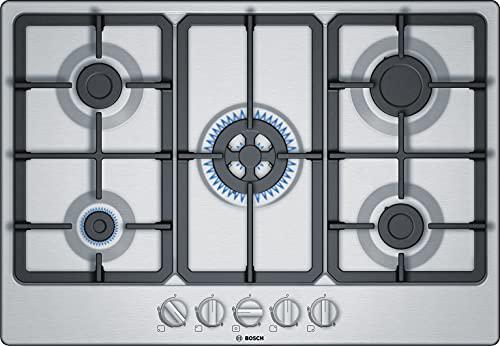 Bosch PGQ7B5B90 Piano Cottura a Gas 5 Fuochi in Acciaio Inox, Griglie in Ghisa