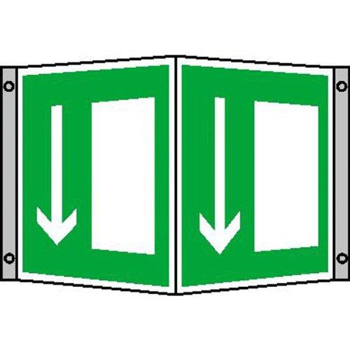 Rettungsschild als Winkelschild Symbol: Notausgang, Material: Alu Montagemaß: 25,7 x 15,0 x 10,5 cm Größe je Schild: 15,0 x 15,0 cm Aluminium hart, 0,56 bis 1,0 mm