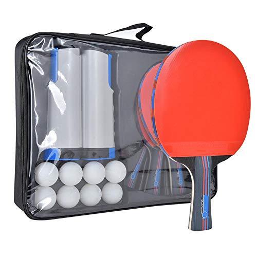 Ping Pong Paddle Set, juego de entrenamiento de tenis de mesa para interiores y exteriores con bolas de red retráctiles y postes para raquetas de ping pong y accesorios