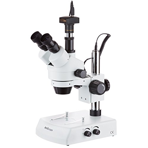 AmScope 7X-90X LED Trinocular Zoom Stereo Microscope with 10MP Camera
