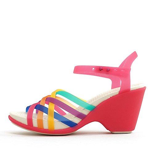 Crocs HrcheSndlWdgW, Damen Durchgängies Plateau Ballerinas, Mehrfarbig (Multi/Candy Pink 95M), 36/37 EU