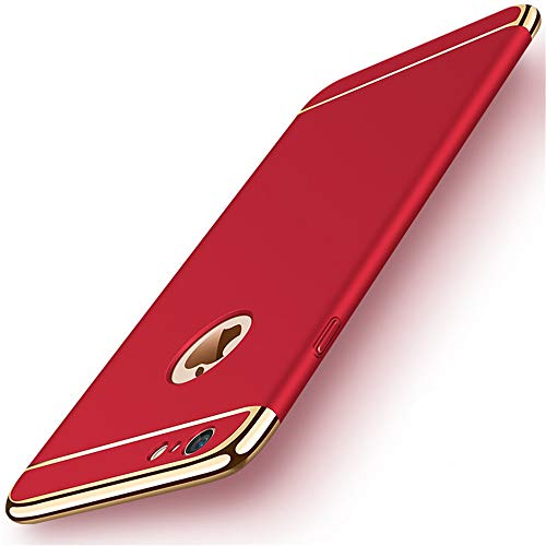 iPhone 6s Plus Case,Heyqie 3 in 1 Ultra-thin 360 Full Body Anti-Scratch Shockproof Hard PC Non-Slip Skin Smooth Back Cover Case with Electroplate Bumper For Apple iPhone 6 plus / 6s Plus 5.5' - Red
