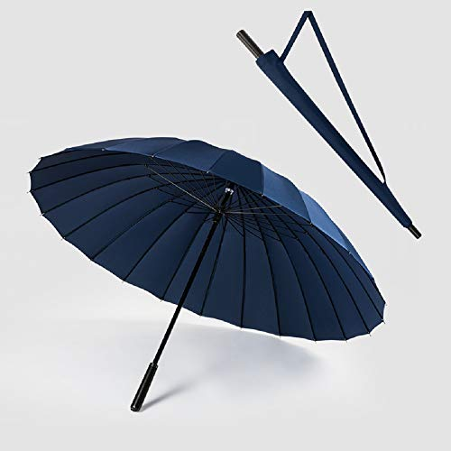 Happy GO 傘 長傘 メンズ 70cm/24本 強化グラスファイバー傘骨 耐強風 130cm広い傘面 3人カバー可能 撥水加工 大きな取っ手 男女兼用 収納ポーチ付き (紺を隠す)