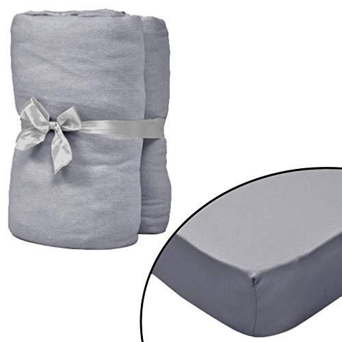 Geniet van winkelen met Hoeslaken waterbedden 200x220 cm katoen jersey stof grijs 2 st