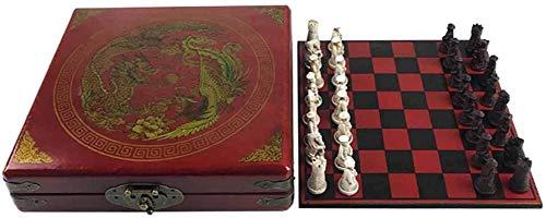 MWKLW Staunton Chess Juego de Juegos de Madera de ajedrez Tradicional Juegos de Tablero de ajedrez de Viaje