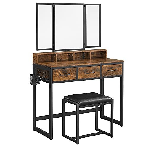 VASAGLE Vanity Table with Upholstered Stool Set, Dressing Table Desk, Makeup Table with Tri-Fold Mirror, 3 Drawers, Hair Dryer Stand, Industrial Style, Rustic Brown and Black URVT004B01