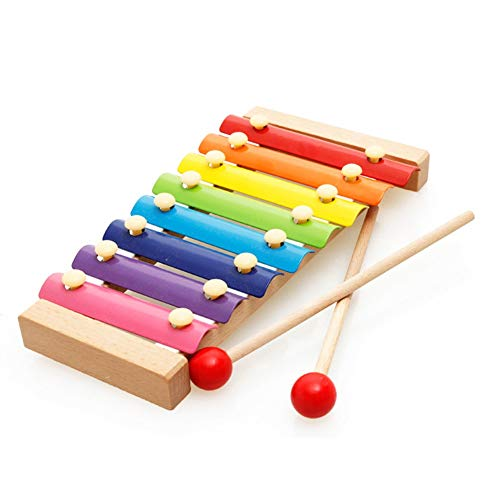 Great Deal! Xyanzi kids toys Children's Toy Xylophone, Colorful 8-Tone Hand Knocking Piano Musical T...