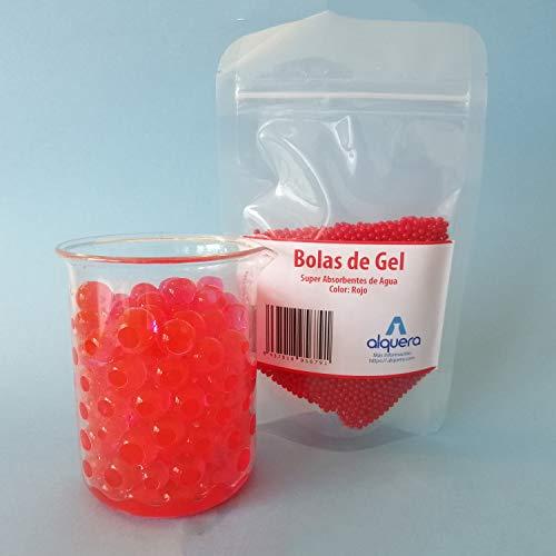 Alquera Bolas de Gel para Decoración. Hidrogel para Plantas. 100g en seco - 10L con Agua. Color Rojo