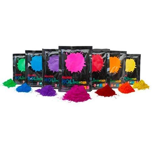 Grupo TodoLuminosos Polvos Holi - 7 Sobres de 100 Gramos - Polvos Holi 100% Naturales y biodegradables - Polvos Holi Gulal - Polvos de Colores de máxima Calidad al Mejor Precio