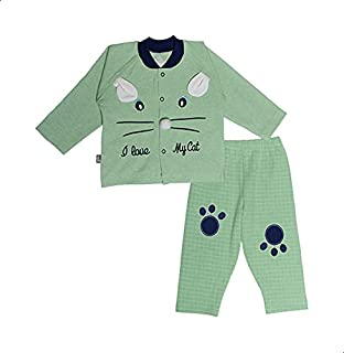 Baby Shoora Cat-Print Long Sleeves Top with Plaid Pants Pajama Set for Girls, 2 Pieces 3-6 Months