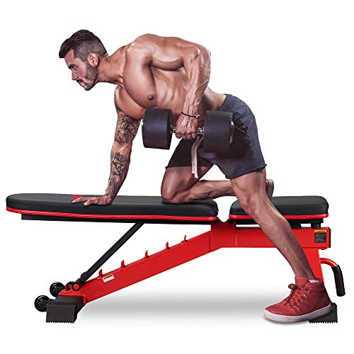 DERACY Adjustable Weight Bench for Full Body Workout, Incline and Decline Weight Bench for Indoor Workout, Home Gym (Red)