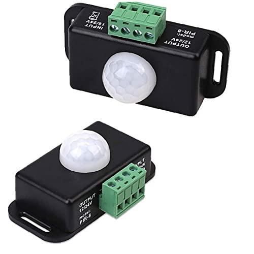 Interruptor del sensor de movimiento del interruptor del sensor del detector de movimiento por infrarrojos 12-24V para el hogar armario de la cocina Escaleras Iluminación 2 piezas, Sensor