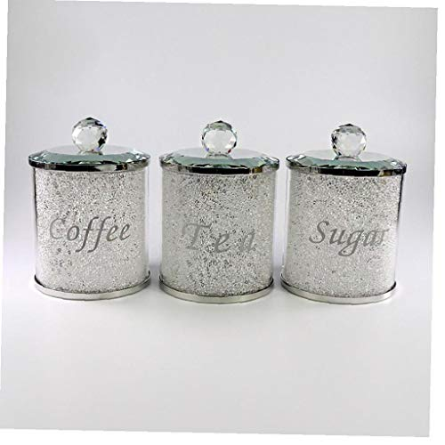 Sugar Canister Tea Jar Coffee Storage Pot Container Canister Set Crystal Shiny Decoration for Kitchen White 3pcs Kitchen Accessories