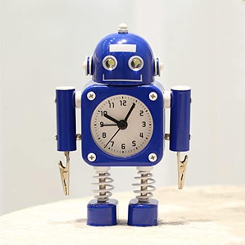 LIUHUIJUN Robot De Metal Reloj Despertador Estudiante con Niños De Dibujos Animados Lindo Mudo con Lámpara Creativa Mesa De Cama De Escritorio Pequeño Reloj Despertador 4 Colores Blue