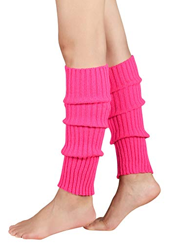 Leg Warmers for Women Girls 80s Ribbed Leg Warmer for Neon Party Knitted Fall Winter Sports Socks (one size, Fluorescent Rose Red)