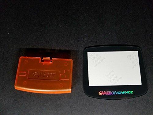 ClassicGameSource Klare orange Batterieabdeckung Logo + Glass Holo-Bildschirm für Game Boy Advance