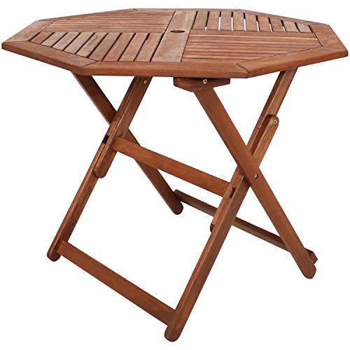 Sunnydaze Meranti Wood Folding Octagon Table with Teak Oil Finish - 35.5-Inch Outdoor Wood Dining Table - Perfect for Camping and Outdoor Entertaining - Ideal for The Backyard, Front Porch and Patio