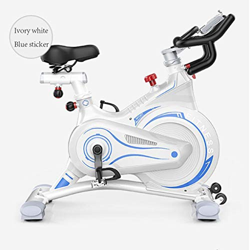 Indoor Workout Spinning Bike, Aërobe Hometrainer voor Thuis Gewicht Workout Oefenapparatuur,Ivory white blue sticker
