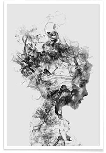"""JUNIQE® Porträts Schwarz & Weiß Poster 20x30cm - Design """"Dissolve Me"""" entworfen von Dániel Taylor"""