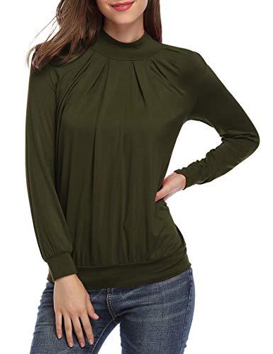Yesfashion Women Long Sleeve Mock-Turtleneck Pleated Tops Blouse Tunic Army Green XL