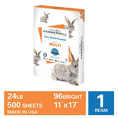 Hammermill Fore Multi-Purpose 24lb Copy Paper, 11x17, 1 Ream, 500 Sheets, Made in USA, Sustainably Sourced From American Family Tree Farms, 96 Bright, Acid Free, Economical Printer Paper,102848R,White