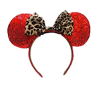 Magic Mouse Ears Headband Rainbow Leopard Mouse Ears Headbands for Girls Adults Birthday Costume Party  Leopard Print with red
