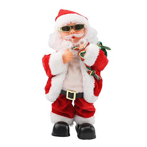 SdeNow Electric Santa Claus, Gold Wire Glasses Shaking Belly Santa Claus Singing Dancing Christmas Santa Claus Toys Xmas Electric Dolls for Kids