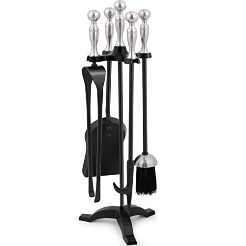 Amagabeli 5 Pieces Fireplace Tools Sets Silver Handles Wrought Iron Fire Place Tool Set Iron Log Holder Fire Pit Stand Fire Tongs Shovel Chimney Poker