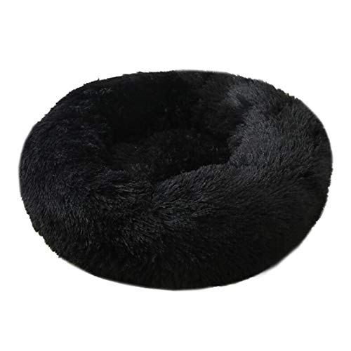 Cama para Mascotas, Cojín de Peluche Cojín Tranquilo Bed Kennel de Mascotas es Super Suave y Esponjoso y cómodo, Adecuado para una Gran casa de Gato para Mascotas (Color : Black, Size : 40CM)